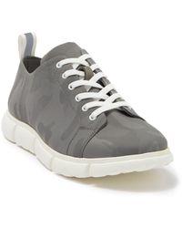 Andrew Marc Camo Nylon Plain Toe Lace-up Sneaker - Grey