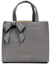 Suzy Levian Pebbled Faux Leather Satchel With Bow - Gray