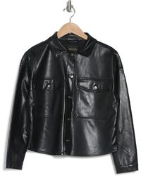 Philosophy Apparel Philosophy Cropped Faux Leather Shacket - Black