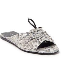 Longchamp Ruched Snake Print Leather Flat Sandal - Black