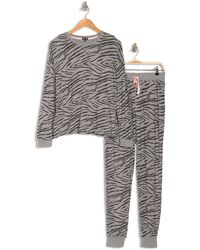 Cozy Zoe Long Sleeve Printed Pajama Set - Gray