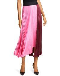 A.L.C. Grainger Pleated Colorblock Midi Skirt - Multicolor