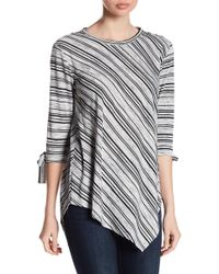Two By Vince Camuto - Long Sleeve Tie Cuff Stripe Asymmetrical Blouse - Lyst