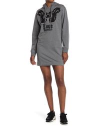 Love Moschino Hooded Sweatshirt Dress With Embroidery - Gray