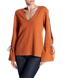 Go Couture - Bell Sleeve Thermal Shirt - Lyst