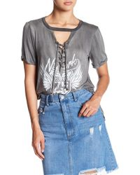 Oober Swank - Lace Up Tee - Lyst