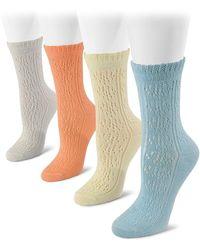 Muk Luks - Pointelle Crew Socks - Pack Of 4 - Lyst