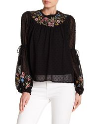 Haute Rogue - Embroidered Bishop Sleeve Clip Dot Top - Lyst