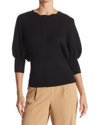 Laundry by Shelli Segal Scalloped Neck Dolman Sleeve Sweater - Black