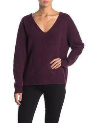 Velvet By Graham & Spencer Emmie Wool Blend V-neck Sweater - Purple