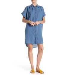 Madewell Central Button Down Linen Blend Shirtdress - Blue