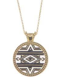 Jessica Simpson - Pattern Circle Pendant Necklace - Lyst