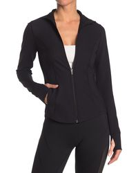 90 Degrees Interlink Thumbhole Zip Front Jacket - Black