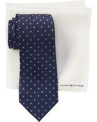 Tommy Hilfiger - Silk Easy Dot Tie & Solid Pocket Square Set - Lyst