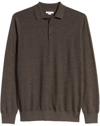 Brax Pierre Honeycomb Merino Wool Long Sleeve Polo - Brown