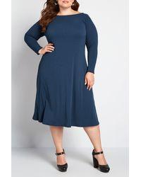 ModCloth Sweet Simplicity Long Sleeve Midi Dress - Blue