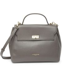 Lancaster Alena Leather Flap Satchel - Gray