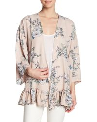 Pleione - Floral Ruffle Hem Kimono - Lyst