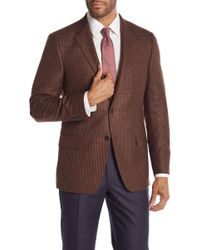 Hickey Freeman - Brown Houndstooth Two Button Notch Lapel Classic Fit Blazer - Lyst