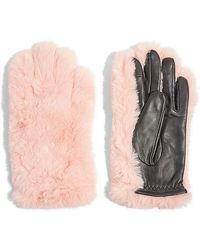 TOPSHOP - Faux Fur & Leather Gloves - Lyst