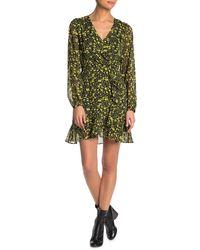 Lush Ditsy Floral Ruffle Trim Mini Dress - Green