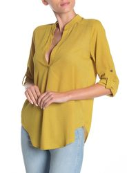 Lush 3/4 Sleeve Collared Printed Blouse - Yellow