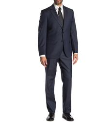 JB Britches Logan Navy Sharkskin Two Button Notch Lapel Wool Classic Fit Suit - Blue
