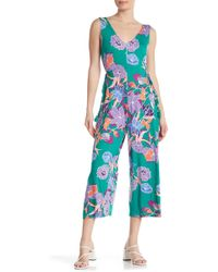 Spense - Floral Wide Leg Jumpsuit - Lyst