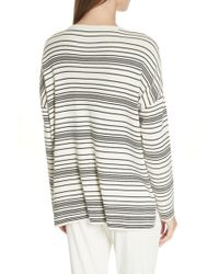 Eileen Fisher Long-sleeve Striped Organic Cotton Sweater - White