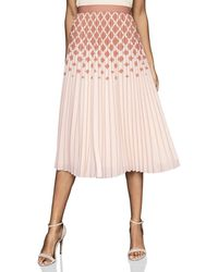 Reiss Elsa Diamond Print Ombré Pleat Skirt - Pink