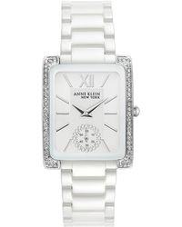 Anne Klein Women's Swarovski Crystal Accented Bracelet Watch - Metallic