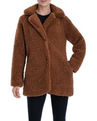 Lucky Brand Faux Shearling Snap Button Coat - Brown