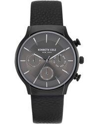 Kenneth Cole Men's Dress Sport Chronograph Leather Strap Watch, 42mm - Black