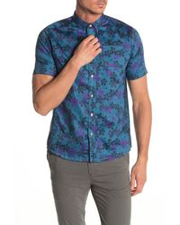 Descendant Of Thieves Mesomerica Floral Short Sleeve Shirt - Blue