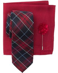 Ben Sherman - Silk Maddox Plaid Tie, Pocket Square, & Lapel Pin Set - Lyst