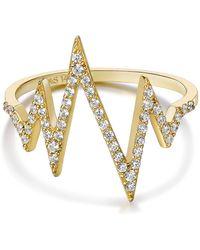 Tara Pearls - 14k Yellow Gold Diamond Heartbeat Ring - 0.23 Ctw - Size 7 - Lyst