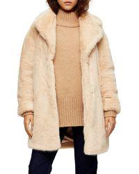 TOPSHOP Luxe Faux Fur Coat - Natural