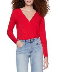 BCBGeneration Jersey Crossover Bodysuit - Red