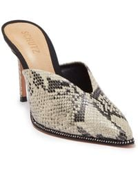 Schutz Heliconia Snakeskin Embossed Leather Mule - Natural