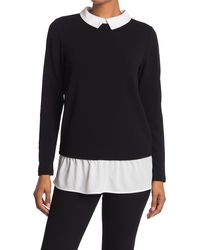 Adrianna Papell Textured Long Sleeve Twofer Top - Black