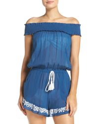 Lucky Brand - Stitch In Time Off The Shoulder Romper - Lyst