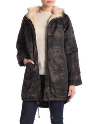 Lucky Brand - Camo Faux Fur Trimmed Coat - Lyst