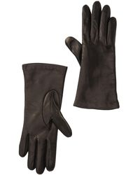 Portolano Cashmere Lined Leather Gloves - Black