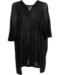 Steve Madden Fine Knit Side Slit Ruana - Black