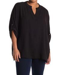 Joan Vass Crepe V-neck Blouse - Black