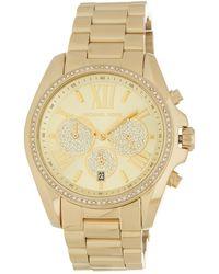 MICHAEL Michael Kors Women's Bradshaw Chronograph Crystal Embellished Bracelet Watch, 43mm - Metallic