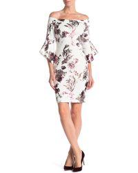 Bebe - Metallic Floral Off-the-shoulder Dress - Lyst
