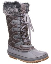 BEARPAW Mckinley Faux Fur & Genuine Sheepskin Waterproof Quilted Boot - Grey