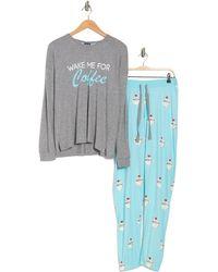 Cozy Zoe Wake Me For Coffee Long Sleeve Top & Sweatpants 2-piece Pajama Set - Blue