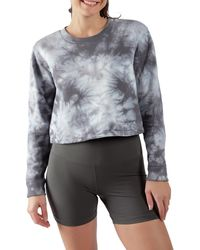 90 Degrees Tie Dye Brushed Cropped Long Sleeve Top - Gray